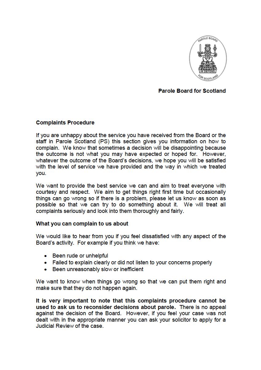 Complaints Procedure - Cover image